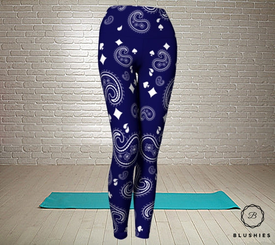 Teardrop Shaped Navy Blue Printed Bandana Legging