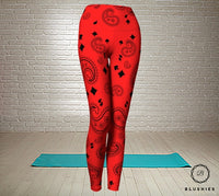 Teardrop Shaped Red and Black Printed Bandana Legging