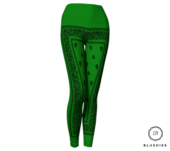Bandana Bordered Style Green Legging