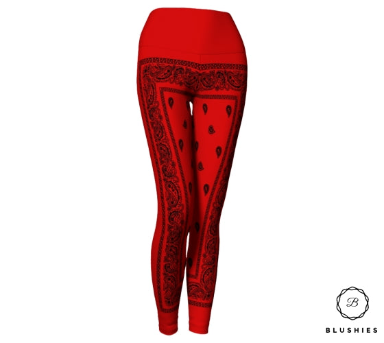 Bandana Bordered Style Red And Black Legging
