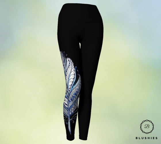 Tapestry Black Women Legging With White and Blue Print