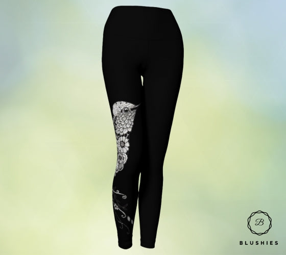 Tapestry Black Women Legging With White Print