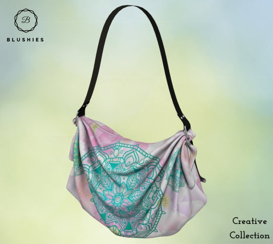 Tapestry Mint Green Flower Printed Origami Tote Bag
