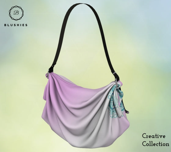 Tapestry Pink Gradient Flower Printed Origami Tote Bag