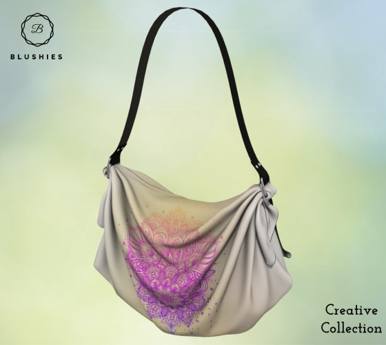 Tapestry Golden Gradient Flower Printed Origami Tote Bag