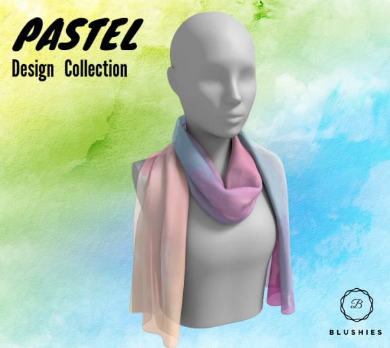 Blue, Pink, and Yellow Pastel Design Long Scarf