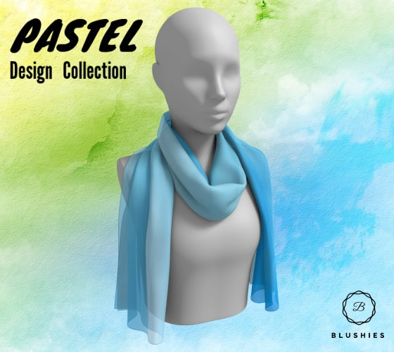 Bubbly Blue Pastel Design Long Scarf