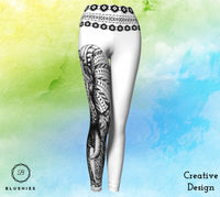 Tapestry White Women Legging With Elephant Print