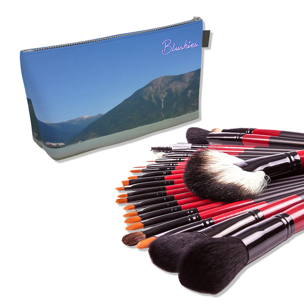 Makeup Bag And Premium 22 Makeup Brushes Kit Bundle Set E