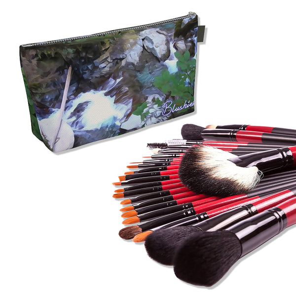 Makeup Bag And Premium 22 Makeup Brushes Kit Bundle Set C