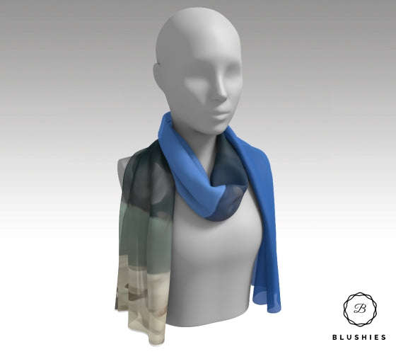 Blue Nature Printed Scarf for Women