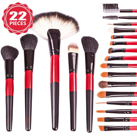 Blushies Makeup Brush Set Professional Quality - Premium 22 Brushes Kit w/ Case