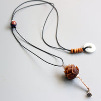 Bodhi Seed Lotus Flower Pendant on Elegant Adjustable Rope Necklace