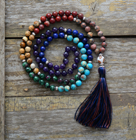 7 Chakra Natural Stone Long Tassel Necklace