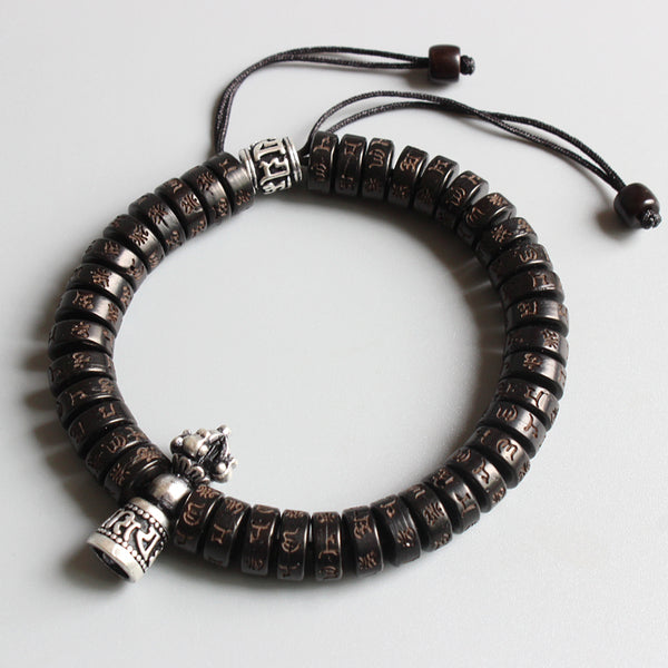 Tibetan Buddhist Vajra Charm OM Bracelet - Made with Natural Coconut shell beads