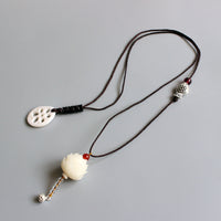 Elegant Bodhi Seed Handcrafted Lotus Flower Pendant Long Necklace