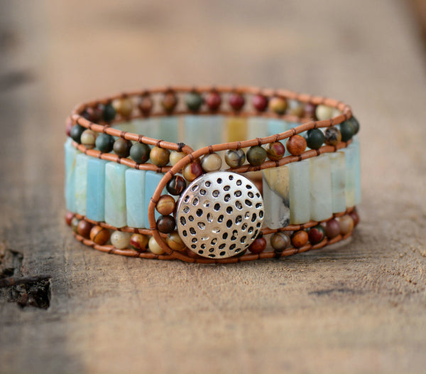 Cuff Bracelet with Amazonite and Leather