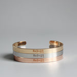 Handmade Stainless Steel Bangle Bracelet Engraved with Tibetan Buddhist