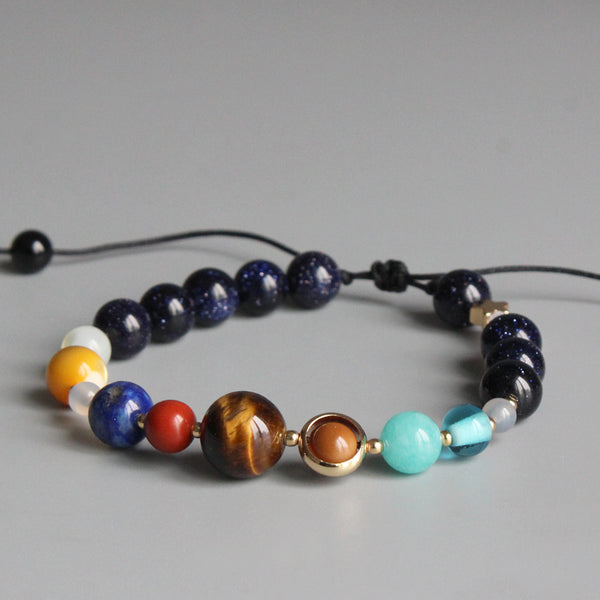 Nine Planet Guardian Star Natural Stone Beaded Bracelet