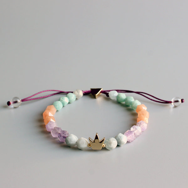 Queen Crown Beaded Charm Bracelet - Handmade Yoga Meditation Jewelry