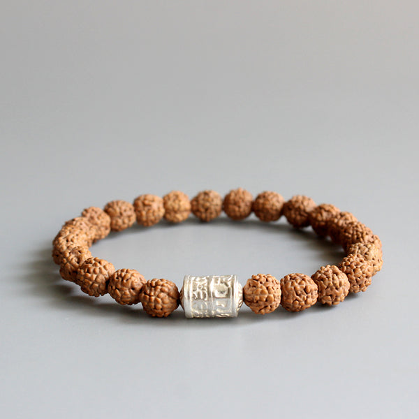 Natural Rudraksha Seed Bracelet With Tibetan White Copper Mantra Charm