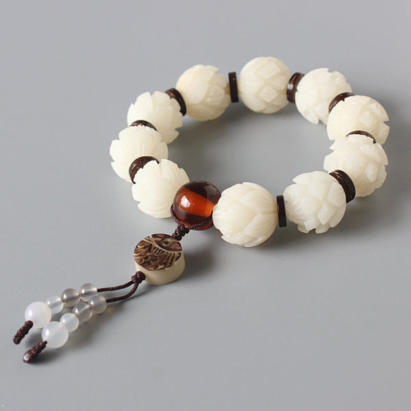 White Bodhi Seed Carved Lotus Flower Beads Stretch Bracelet For Women
