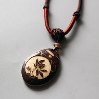 Handcarved Tagua Nut Lotus Flower Pendant Necklace