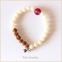 Natural Rudraksha and Bodhi Seed Bracelet for Women