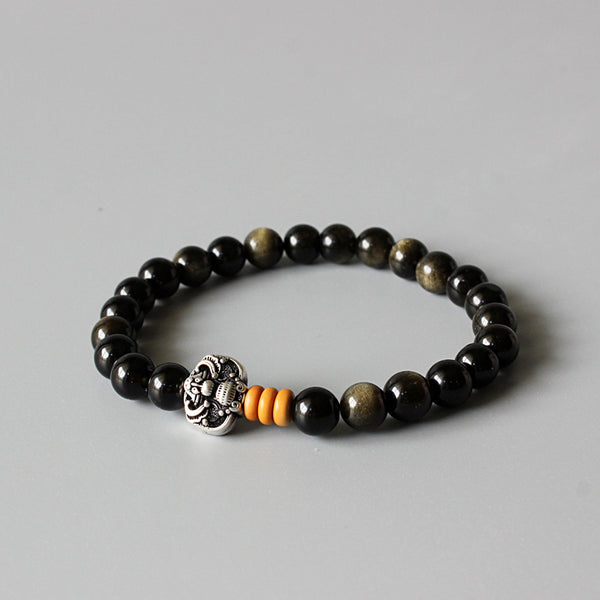 Golden Obsidian Beads Stretch Bracelet With Antique Copper Good Luck Charm