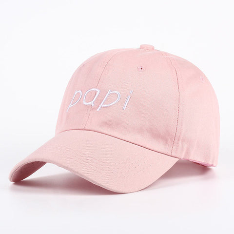 "dad hat ""papi"" in light pink - VogueStreetwear"