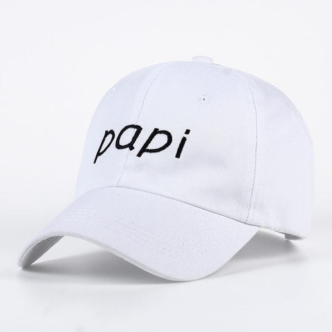 """papi"" dad hat in white - VogueStreetwear.com"