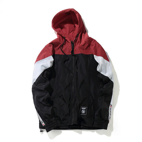 Vintage Color Block Windbreaker Red And Black