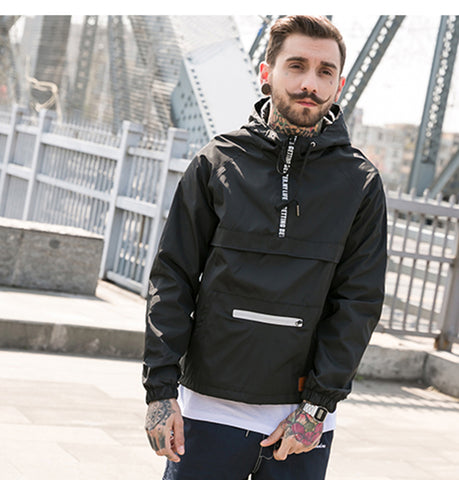 Hooded Windbreaker Aelfric Eden, black-voguestreetwear.com