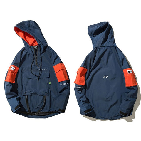 Hooded Windbreaker with Zipper