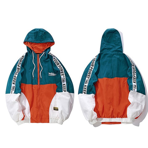 "Men windbreaker ""keep your power"", color: white, orange, dark green"
