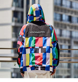 Colorful Hooded Windbreaker, rear center - voguestreetwear.com