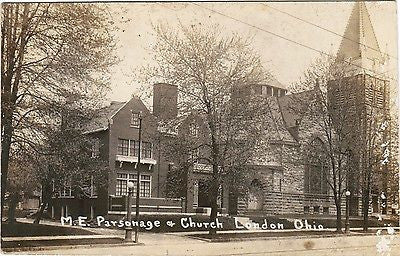 OH, London - M E Parsonage and Church RPPC postcard - B06043