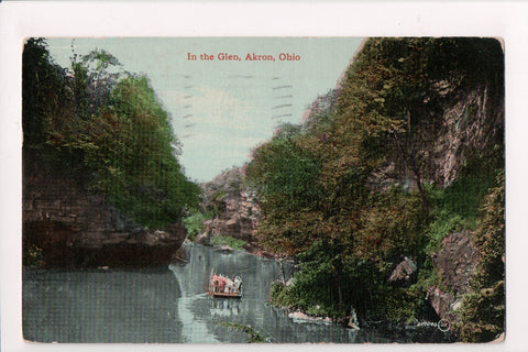 OH, Akron - In the Glen - rope pulling ferry - @1911 postcard - 400088