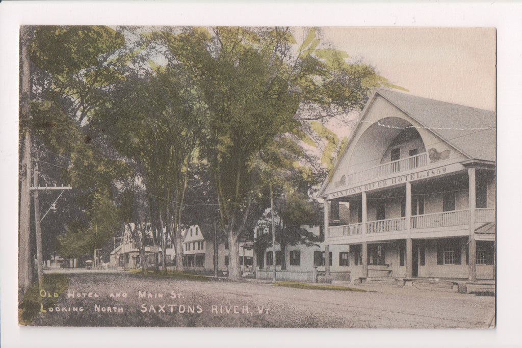 VT, Saxtons River - Main St and Hotel - vintage postcard - 500021