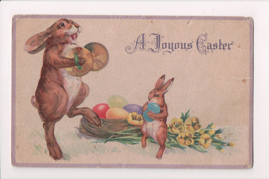Easter postcard - humanized rabbit playing symbols, marching - 500477