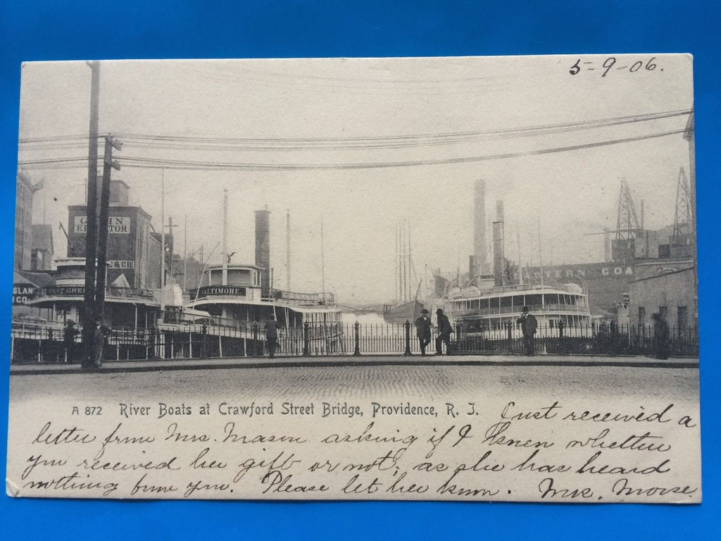RI, Providence - Crawford St Bridge, River Boats postcard - H15073