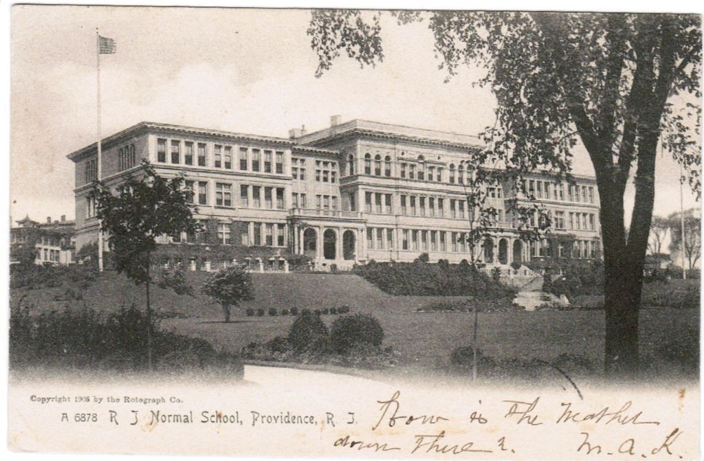 RI, Providence - R J Normal School postcard - D05530 with DPO cancel