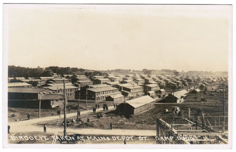 IA, Camp Dodge - aerial of Main and Depot St, construction etc - RPPC - B06703