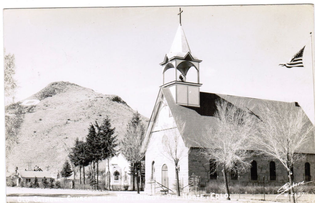 CO, Del Norte - Old Catholic Church and MT Lookout - Sanborn RPPC - D06230