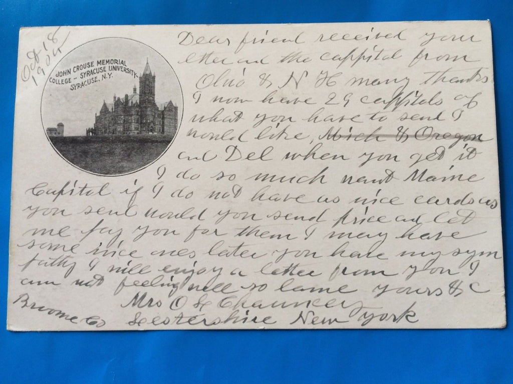NY, Syracuse - John Crouse Memorial College inset postcard - H15051