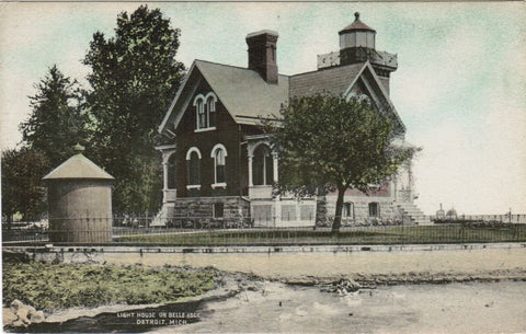 MI, Detroit - Light House on Belle Isle close up postcard - C04334