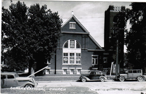 IA, Sheldon - Congregational Church, with nice old cars - RPPC - D04309