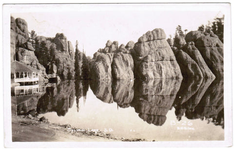 SD, Sylvan Lake - view showing rock ledges near hotel - BHS Inc RPPC - S01722