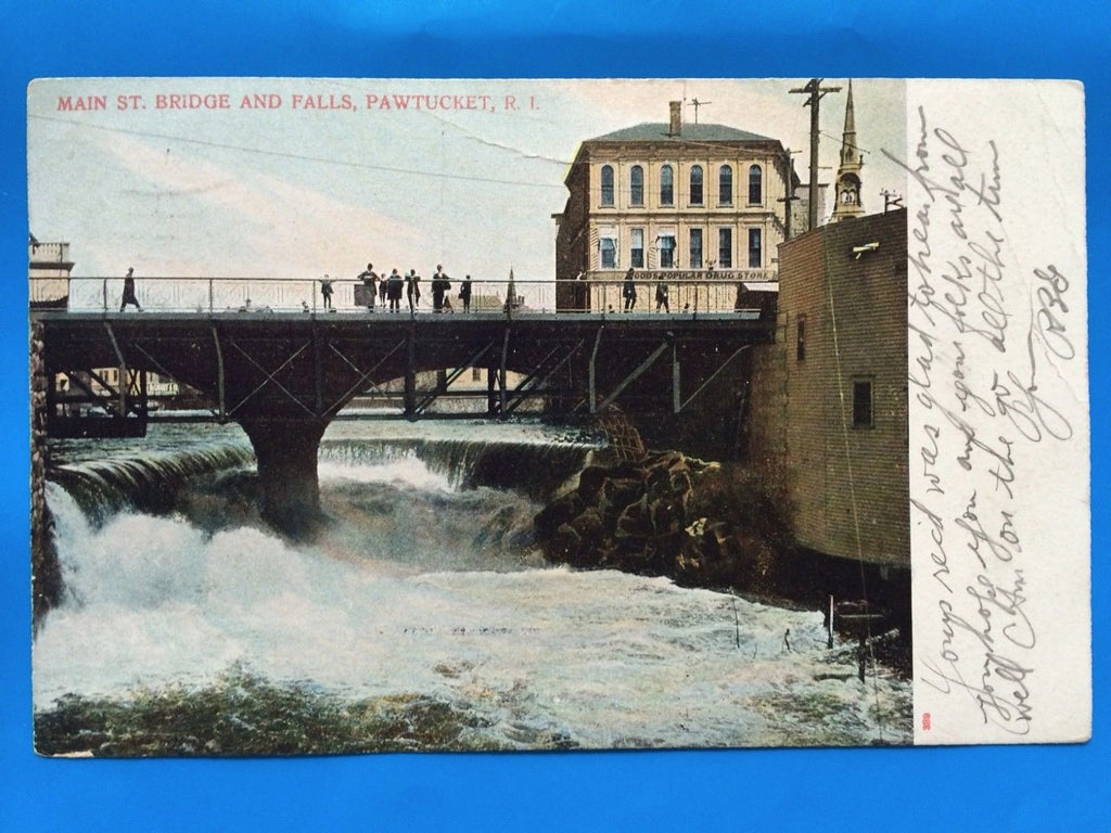 RI, Pawtucket - Main St Bridge and Falls postcard - D07071