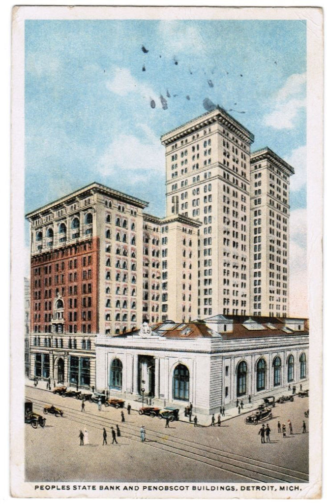 MI, Detroit - Peoples State Bank, Penobscot building postcard - F03181